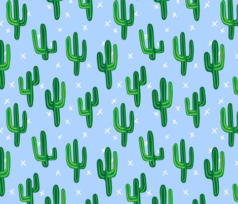 Cactus, Blue fabric by karen_illustrates on Spoonflower - custom fabric