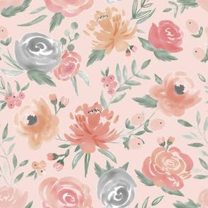 Soft Watercolor Floral on Soft Pink
