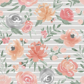 """""""Soft Watercolor"""" Floral on Light Gray w/ White Stripes"""