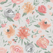 Soft Watercolor Floral on Striped Gray