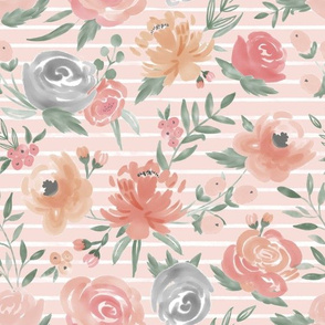 """""""Soft Watercolor"""" Floral on Soft Pink w/ White Stripes"""