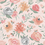 Soft Watercolor Floral on Narrow Striped Pink