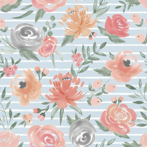 """Soft"" Watercolor Floral on Light Blue w/ White Stripes"