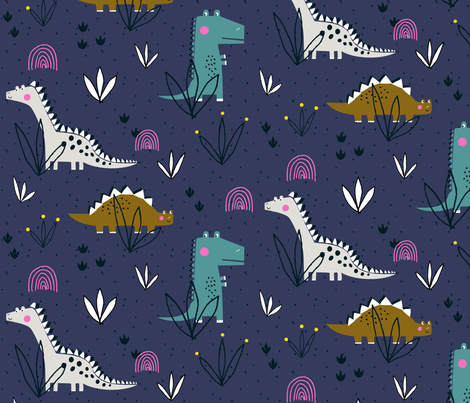 Princess Awesome girly dinosaur design fabric by paperandpickles on Spoonflower - custom fabric