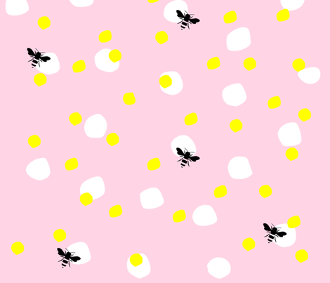 Polka dots with bees fabric by kapotka on Spoonflower - custom fabric