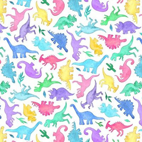 Ditsy Dinos in Bright Pastels on White - small print