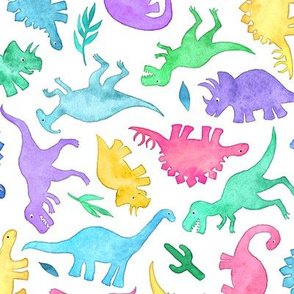 Ditsy Dinos in Bright Pastels on White - large print