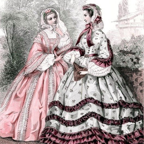 pink red victorian bonnets hats beautiful young woman lady flowers floral lace bows gowns 19th century ruffles flowers floral trees garden houses puffy sleeves  romantic beauty vintage antique elegant gothic lolita egl layered crinoline puffy skirts doll