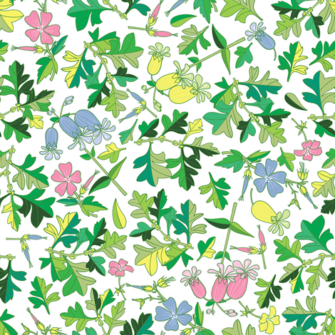 Tossed Wildflowers and Leaves / White Background / Small Scale fabric by marketa_stengl on Spoonflower - custom fabric