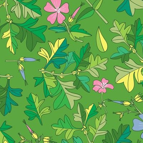 Tossed Wildflowers and Leaves / Green Background
