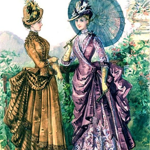 victorian edwardian  feather hats green parasol umbrella purple brown gown trees leaves floral flowers beautiful young woman lady bustle 19th  20th century hills mountains gardens beauty vintage antique elegant gothic lolita egl  shabby chic romantic