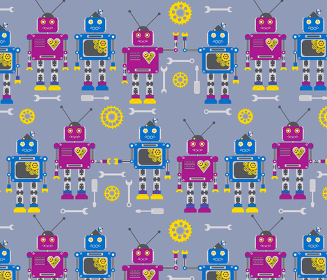 I (Spy) Robot fabric by the_snail_and_starling on Spoonflower - custom fabric