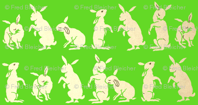 Bunnies in the Meadow-Green