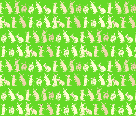 Bunnies in the Meadow-Green fabric by keramos on Spoonflower - custom fabric