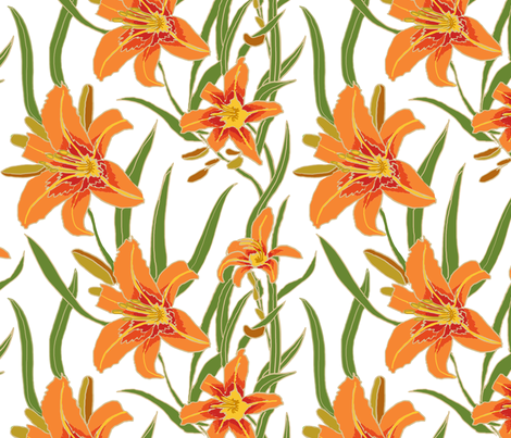 day lily on white 12x12 fabric by leroyj on Spoonflower - custom fabric