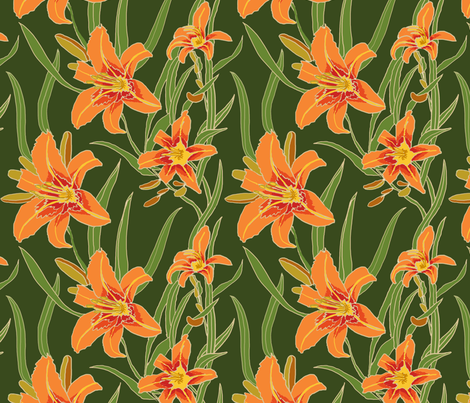 day lily on green 10x10 fabric by leroyj on Spoonflower - custom fabric