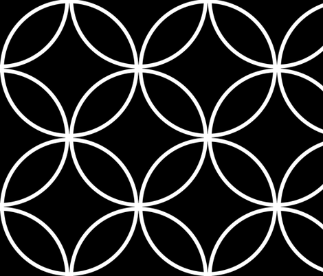 Circle Lock ~  White on Black   fabric by peacoquettedesigns on Spoonflower - custom fabric