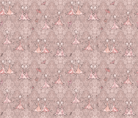 Petite Princess Awesome on pastel brown fabric by pearlposition on Spoonflower - custom fabric