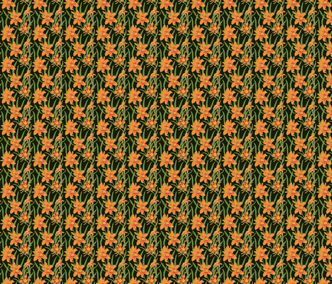 day lily on black 2x2 fabric by leroyj on Spoonflower - custom fabric