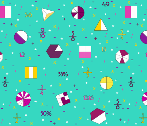 fractions _ ratios _ percentages turquoise fabric by mimsy_whipstitch on Spoonflower - custom fabric