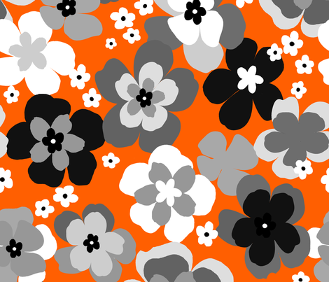 vintage flower-gray fabric by paintedwind on Spoonflower - custom fabric