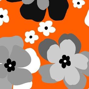 vintage flower-gray