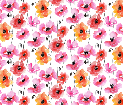 poppy field fabric by paintedwind on Spoonflower - custom fabric