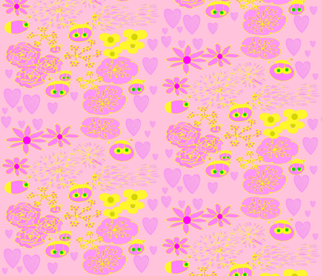 Pink Flowers and Fireflies fabric by katawampus on Spoonflower - custom fabric