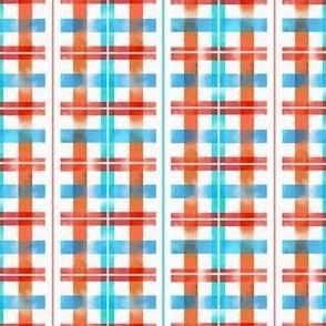 Blue & Orange Watercolor Stripe Pattern