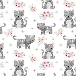 Grey Tabby Kitten Floral
