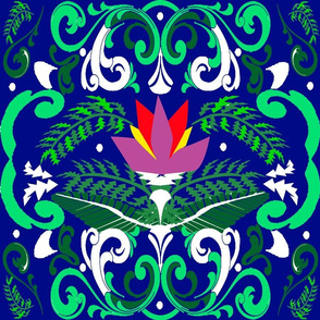 Lotus Emerald forest dark blue
