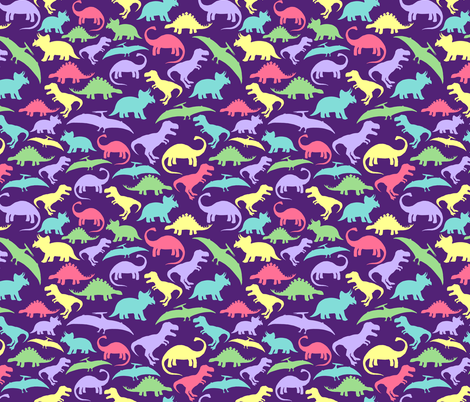 Dinos Purple Multi big fabric by threadconnections on Spoonflower - custom fabric
