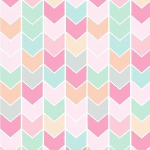 Chevron Arrows - Pink Peach Mint