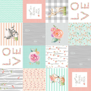 I Love You a Bushel and a Peck Quilt Top (rotated) - Baby Girl Blanket Gray Mint Peach