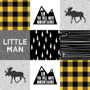 Little Man & You Will Move Mountains Quilt Top - mustard buffalo plaid  C18BS
