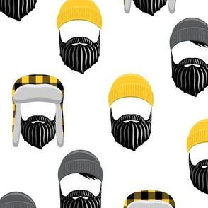 woodsman - lumberjack hat and beards - mustard