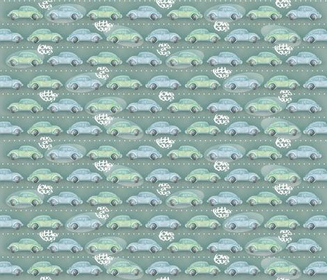 LoveBug VW Beetle Green&Blue 50% fabric by sweetpeaandgorgeous on Spoonflower - custom fabric