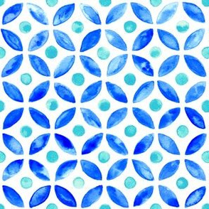 Simple Moroccan Tile - Aqua and Navy