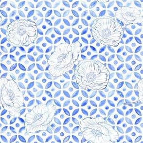 Moroccan Poppies - Indigo Denim Blue