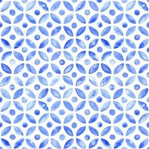 Simple Watercolor Moroccan Tile - Indigo
