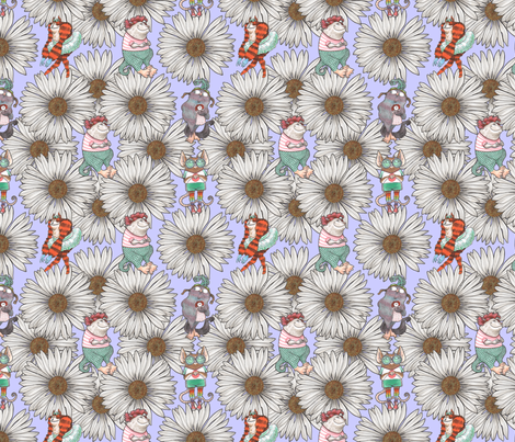 Monsters and Daisies Lavender fabric by janetleeart on Spoonflower - custom fabric