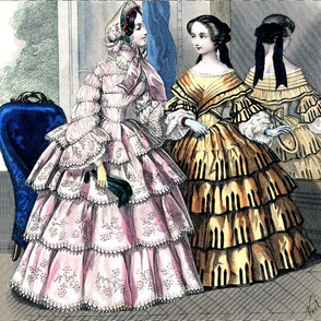 pink victorian bonnets hats beautiful young woman lady flowers floral lace bows orange gowns 19th century applique fans trees mother daughter sisters family puffy sleeves romantic beauty vintage antique elegant gothic lolita egl layered crinoline puffy sk