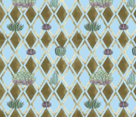 Diamond Succulents - Blue fabric by pouty_koala on Spoonflower - custom fabric
