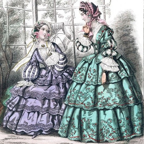 pink victorian bonnets hats beautiful young woman lady flowers floral roses lace bows purple peppermint green gowns 19th century applique parasols puffy sleeves trees garden romantic beauty vintage antique elegant gothic lolita egl layered crinoline puffy