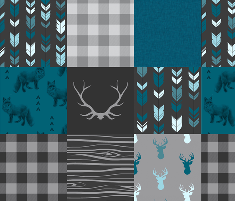 Wholecloth Quilt - ('No Little Man')Fox and Deer in teal, g... fabric by sugarpinedesign on Spoonflower - custom fabric