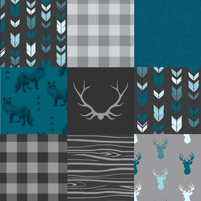 Wholecloth Quilt - ('No Little Man')Fox and Deer in teal, g...