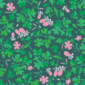 Tossed Wildflowers and Leaves / Emerald Background / Small Scale