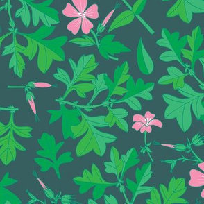 Tossed Wildflowers and Leaves / Emerald Background