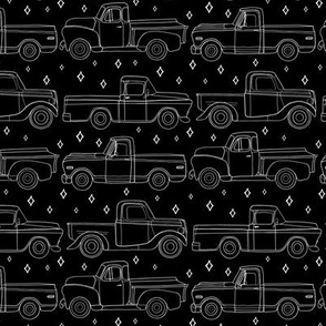 Midnight Vintage Trucks With Stars - Small