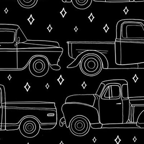 Midnight Vintage Trucks With Stars - Big